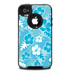 The Blue & White Hawaiian Floral Pattern V4 Skin for the iPhone 4-4s OtterBox Commuter Case