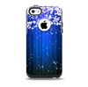 The Blue & White Rain Shimmer Strips Skin for the iPhone 5c OtterBox Commuter Case