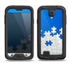 The Blue & White Scattered Puzzle Samsung Galaxy S4 LifeProof Fre Case Skin Set