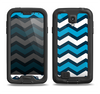 The Blue Wide Chevron Pattern Samsung Galaxy S4 LifeProof Fre Case Skin Set