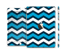 The Blue Wide Chevron Pattern Full Body Skin Set for the Apple iPad Mini 3