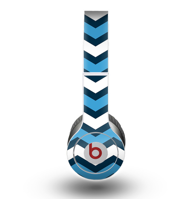 The Blue Wide Chevron Pattern Skin for the Beats by Dre Original Solo-Solo HD Headphones