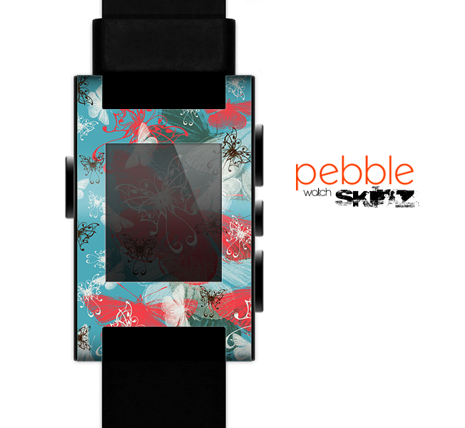 The Blue & Coral Abstract Butterfly Sprout Skin for the Pebble SmartWatch
