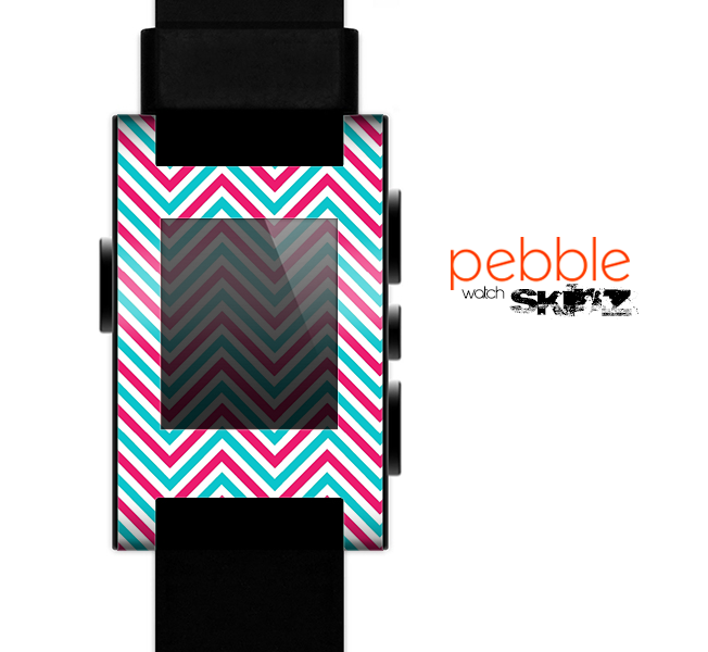 The Blue & Pink Sharp Chevron Pattern Skin for the Pebble SmartWatch