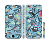 The Blue and Black Branches with Abstract Big Eyed Owls Sectioned Skin Series for the Apple iPhone 6