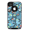 The Blue and Black Branches with Abstract Big Eyed Owls Skin for the iPhone 4-4s OtterBox Commuter Case