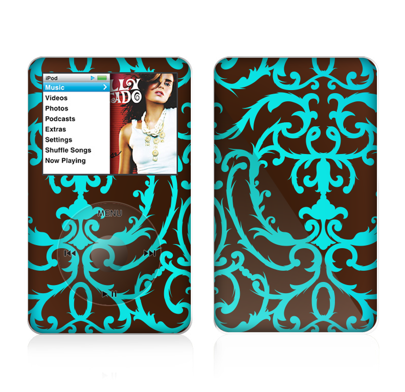 The Blue and Brown Elegant Lace Pattern Skin For The Apple iPod Classic