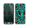 The Blue and Brown Elegant Lace Pattern Skin For the Samsung Galaxy S5