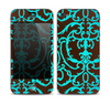 The Blue and Brown Elegant Lace Pattern Skin for the Apple iPhone 4-4s