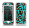 The Blue and Brown Elegant Lace Pattern Skin for the iPhone 5-5s OtterBox Preserver WaterProof Case