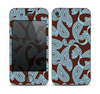 The Blue and Brown Paisley Pattern V4 Skin for the Apple iPhone 4-4s