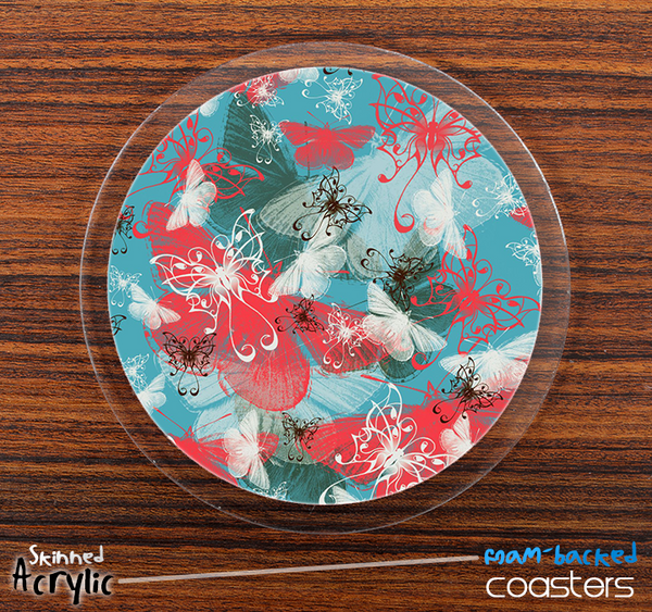 The Blue and Coral Butterfly Abstract Skinned Foam-Backed Coaster Set