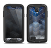 The Blue and Gray 3D Cubes Samsung Galaxy S4 LifeProof Fre Case Skin Set