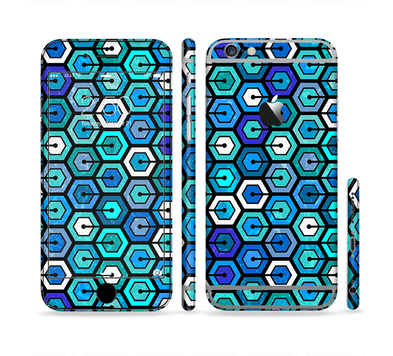 The Blue and Green Vibrant Hexagons Sectioned Skin Series for the Apple iPhone 6s