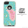 The Pink & Teal Paisley Design Skin For The iPhone 4-4s or 5-5s Otterbox Commuter Case