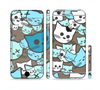 The Blue and Pink Vector Faced Cats Sectioned Skin Series for the Apple iPhone 6 Plus