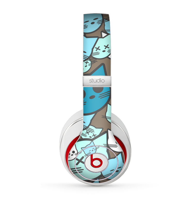 The Blue and Pink Vector Faced Cats Skin for the Beats by Dre Studio (2013+ Version) Headphones