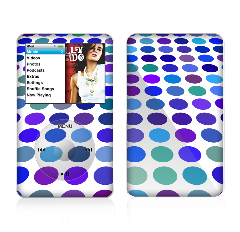 The Blue and Purple Strayed Polkadots Skin For The Apple iPod Classic