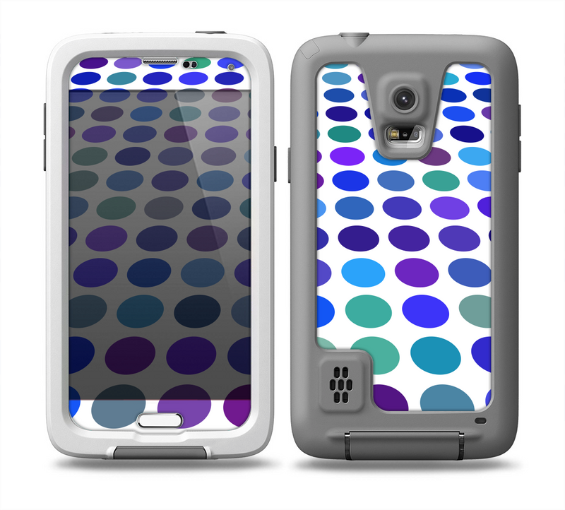The Blue and Purple Strayed Polkadots Skin for the Samsung Galaxy S5 frē LifeProof Case