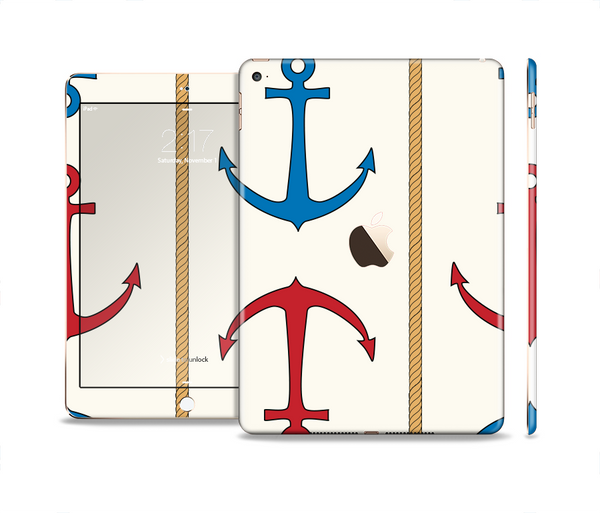The Blue and Red Simple Anchor Pattern Skin Set for the Apple iPad Pro
