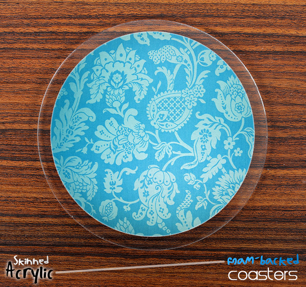 The Blue and Subtle Floral Skinned Foam-Backed Coaster Set