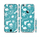 The Blue and White Cartoon Sea Creatures Sectioned Skin Series for the Apple iPhone 6s