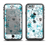 The Blue and White Floral Laced Pattern Apple iPhone 6/6s LifeProof Fre Case Skin Set