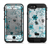 The Blue and White Floral Laced Pattern Apple iPhone 6/6s LifeProof Fre POWER Case Skin Set