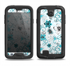 The Blue and White Floral Laced Pattern Samsung Galaxy S4 LifeProof Fre Case Skin Set