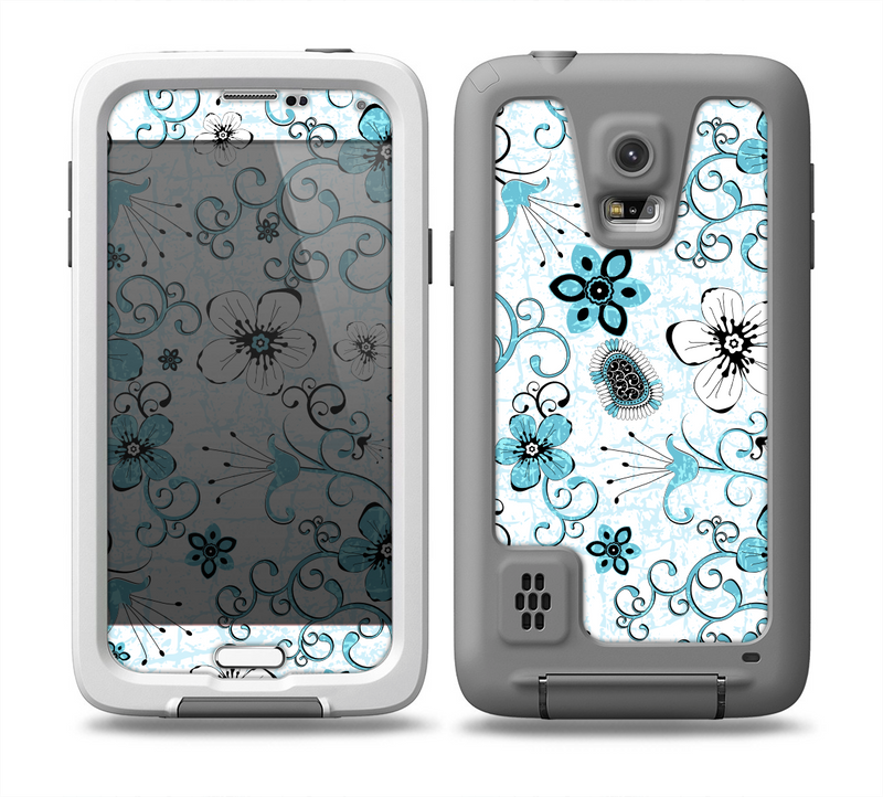 The Blue and White Floral Laced Pattern Skin for the Samsung Galaxy S5 frē LifeProof Case