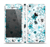 The Blue and White Floral Laced Pattern Skin Set for the Apple iPhone 5
