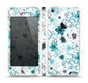 The Blue and White Floral Laced Pattern Skin Set for the Apple iPhone 5s
