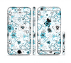 The Blue and White Floral Laced Pattern Sectioned Skin Series for the Apple iPhone 6