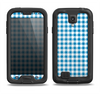The Blue and White Woven Plaid Pattern Samsung Galaxy S4 LifeProof Fre Case Skin Set