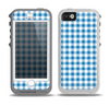 The Blue and White Woven Plaid Pattern Skin for the iPhone 5-5s OtterBox Preserver WaterProof Case