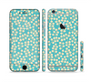 The Blue and Yellow Floral Pattern V43 Sectioned Skin Series for the Apple iPhone 6