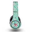 The Blue and Yellow Floral Pattern V43 Skin for the Original Beats by Dre Studio Headphones
