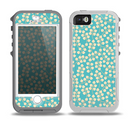 The Blue and Yellow Floral Pattern V43 Skin for the iPhone 5-5s OtterBox Preserver WaterProof Case
