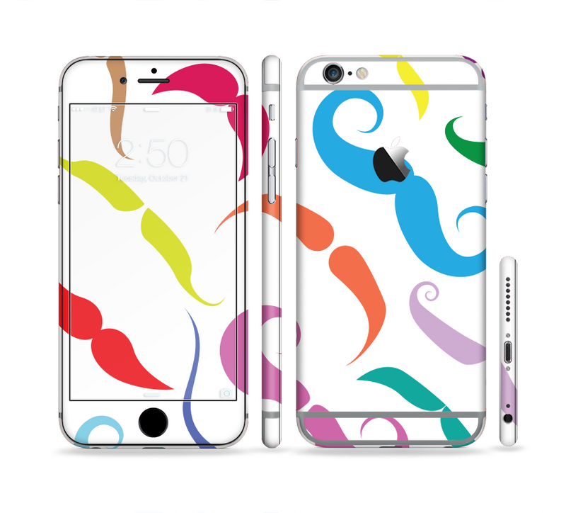 The Bold Colorful Mustache Pattern Sectioned Skin Series for the Apple iPhone 6s