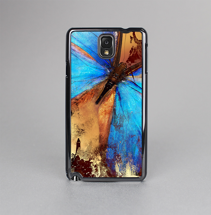 The Bright Blue Butterfly on Grunge Gold Surface Skin-Sert Case for the Samsung Galaxy Note 3