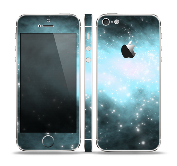 The Bright Blue Vivid Galaxy Skin Set for the Apple iPhone 5