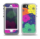 The Bright Colored Cartoon Flowers Skin for the iPhone 5-5s OtterBox Preserver WaterProof Case