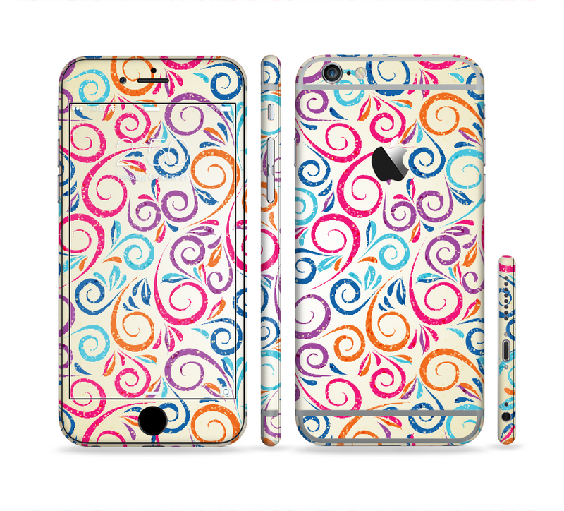 The Bright Colored Vector Spiral Pattern Sectioned Skin Series for the Apple iPhone 6