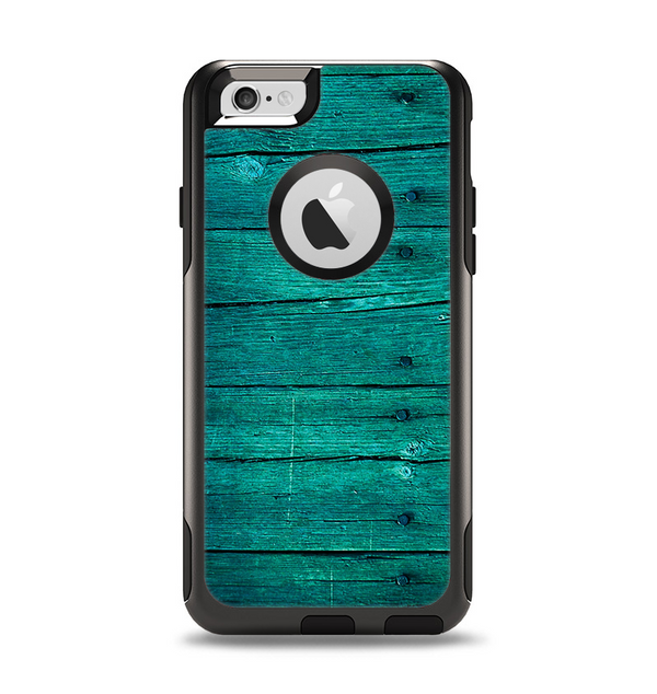 The Bright Emerald Green Wood Planks Apple iPhone 6 Otterbox Commuter Case Skin Set