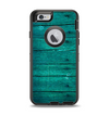 The Bright Emerald Green Wood Planks Apple iPhone 6 Otterbox Defender Case Skin Set