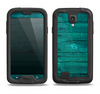 The Bright Emerald Green Wood Planks Samsung Galaxy S4 LifeProof Fre Case Skin Set