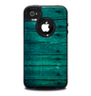 The Bright Emerald Green Wood Planks Skin for the iPhone 4-4s OtterBox Commuter Case