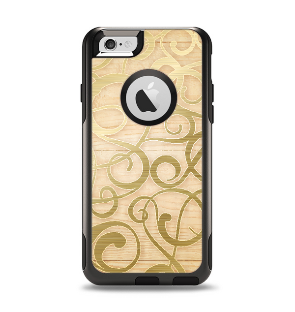 The Bright Gold Spiral Wood Pattern Apple iPhone 6 Otterbox Commuter Case Skin Set