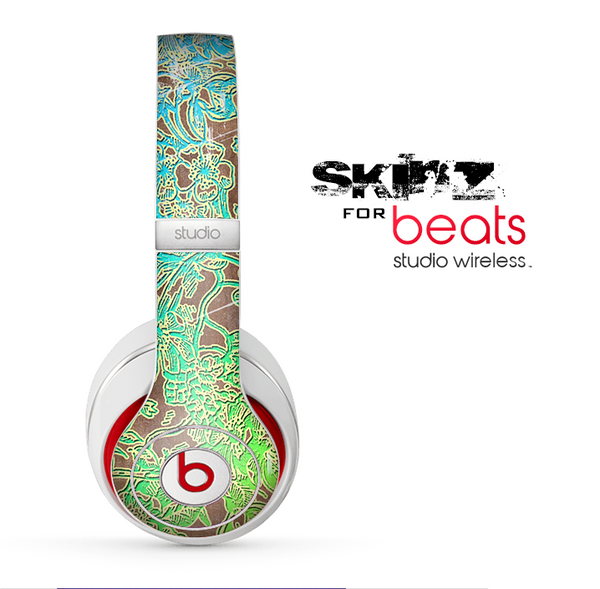 The Bright Green Floral Laced Skin for the Beats by Dre Studio Wireless Headphones