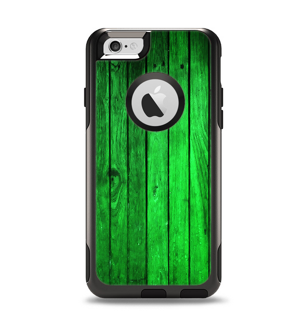 The Bright Green Highlighted Wood Apple iPhone 6 Otterbox Commuter Case Skin Set